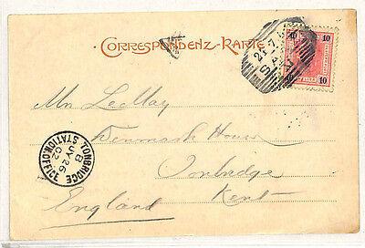 Lage Prijs W193 1902 Austria Gb Kent Railway Missort Bohemia Saaz Card *tonbridge Station*