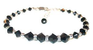 JET-BLACK-Crystal-Bracelet-Sterling-Silver-Beaded-Swarovski-Crystal-Elements