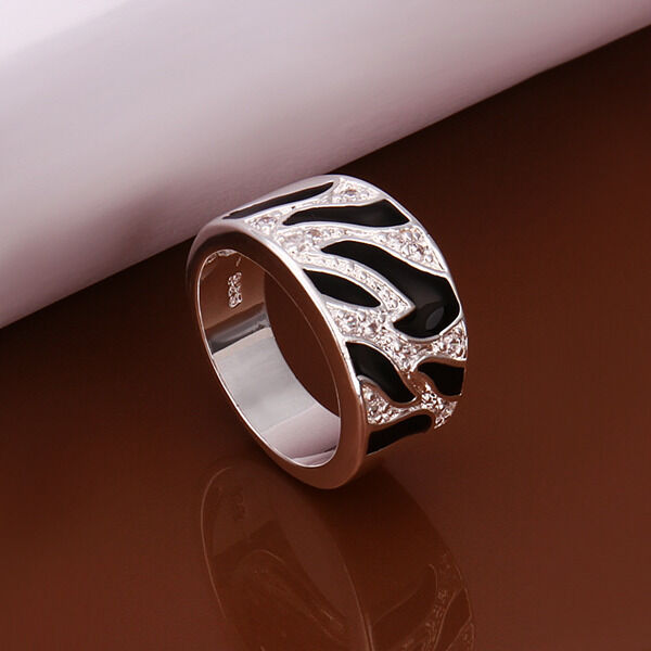 Free Shipping Sterling Solid Silver Black&White RING DAR271 + box