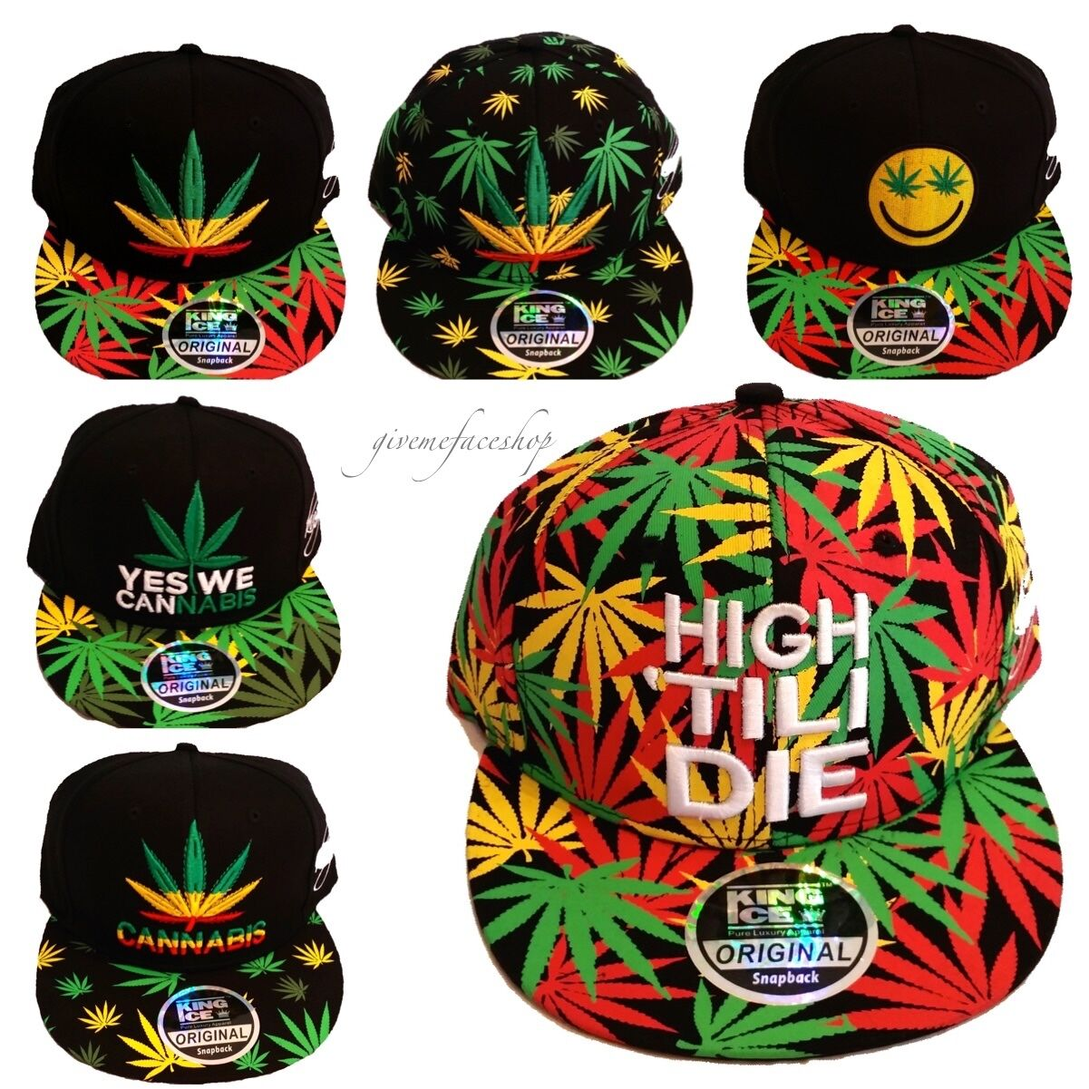 Cannabis Snapback Kappen,Gras Flache Kappe Mütze,Marihuana Baseball Herren &