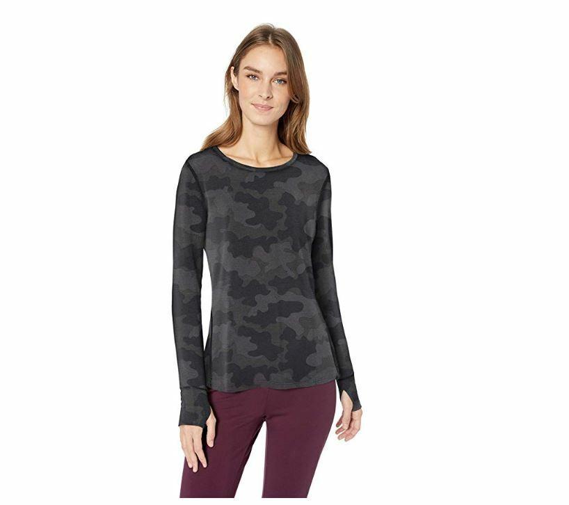 Essentials Women's Studio Long-Sleeve Lightweight T-Shirt, Gray camo, X-Small XS
