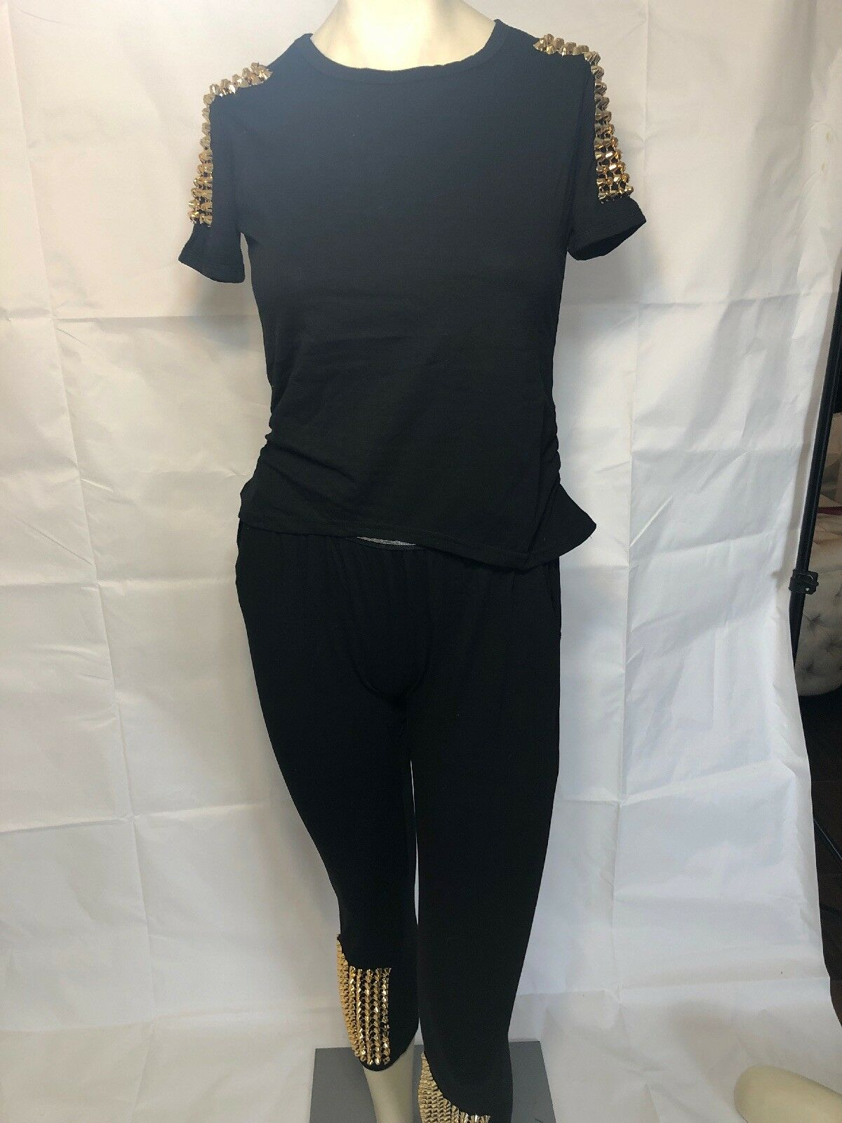 2 Piece And gold Studded Leggings And Crop Top