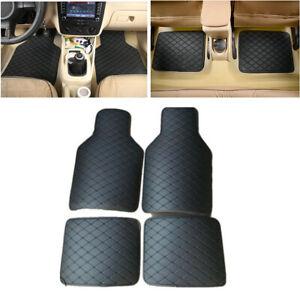 4Pcs-Universal-Black-PU-Leather-Carpet-Set-Car-Floor-Mats-Protect-Accessories