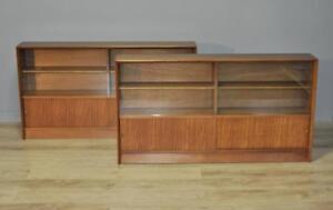 Pair-Of-Retro-Herbert-Gibbs-Long-Low-Teak-Glass-Sliding-Door-Bookcase-Cabinets