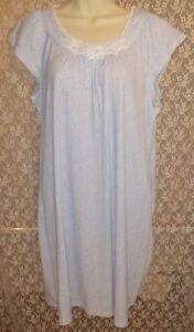 NWT-Large-L-MISS-ELAINE-Cotton-Blend-Nightgown-Cap-Sleeve-Gown-Lt-Blue-White
