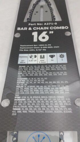 "16/"" Bar Chain combo 3//8/""LP 56DL replaces 36 136 137 140 141  235E 240E Husqvarna"