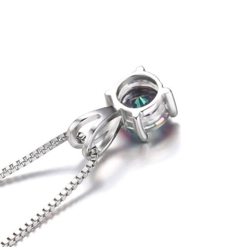 12mm 0.8ct Genuine Mystic Topaz Necklace Pendant 925 Silver special occasion Hot
