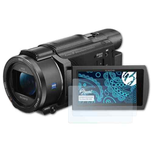 Bruni 2x Folie für Sony FDR-AX53 Schutzfolie Displayschutzfolie