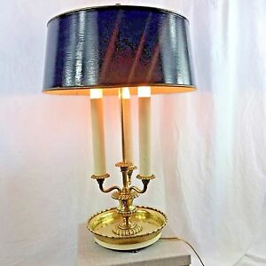 Details About Vintage Bouillotte Three Candle Brass Table Desk Lamp Black Tole Shade