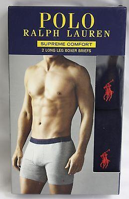 Polo Ralph Lauren 2 Long Leg Boxer Briefs Underwear Blue Supreme Comfort NIB