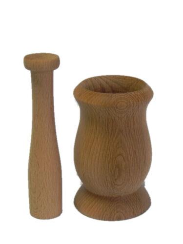 Wooden Pestle and Mortar Crusher Paste Grinding Grinder Wood Spice Herbs Mug M03