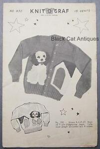 Vintage Knit O Graf Pattern #930 Child's Dog & Doghouse Pattern Sizes 4-6-8-10