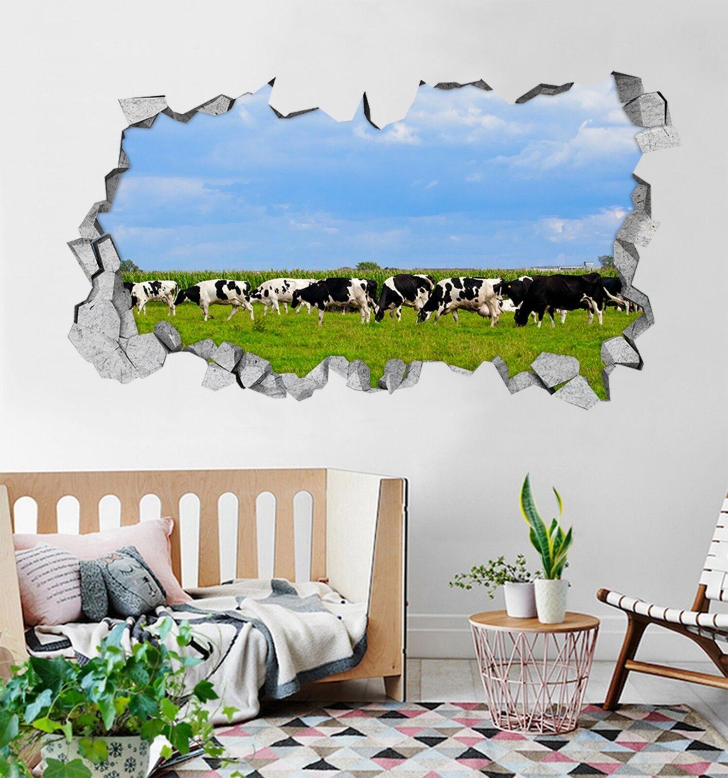 3D Mucche Ranch 126 Parete Murales Adesivi Decal Sfondamento AJ WALLPAPER IT