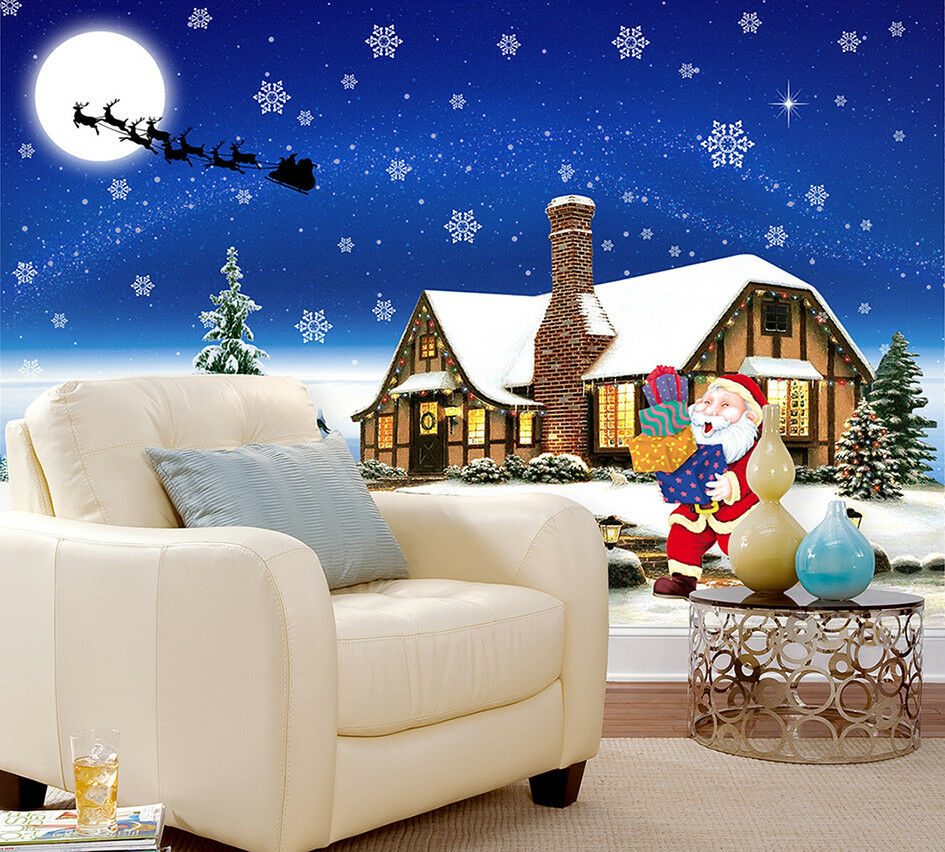 3D Santa Snow House 472 Wallpaper Murals Wall Print Wallpaper Mural AJ WALL AU