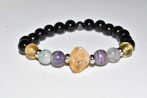 Citrine-Black-Tourmaline-Hematite-Bracelet-Rainbow-Fluorite-Crystal-Healing-Gift