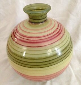 "Multicolor 12"" Round Stripe Glass Vase"