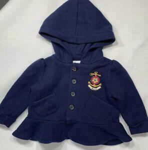 Ralph-Lauren-Baby-Girls-6-Months-Blue-Peplum-Button-Front-Hooded-Sweatshirt-Top