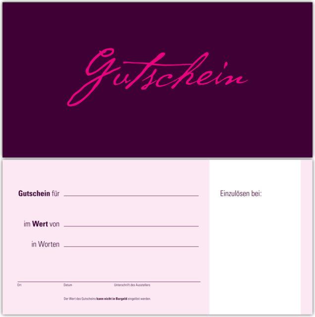 50 Gutscheine Gutscheinkarten Geschenkgutscheine – edel  neutral aubergine/pink