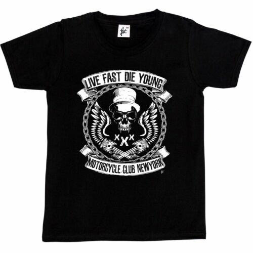 Girls T-Shirt Live Fast Die Young Motorcycle Club Fang Skull Top Hat Kids Boys