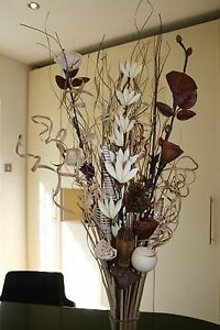 choc brown /& cream dried Bouquet HOME LIVING DISPLAY CONSERVATORY no vase