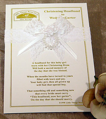 NIP Headband to Wedding Garter + Sweet Poem  Christening AHEAD1
