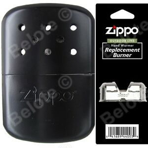 Zippo-BLACK-Refillable-Hand-Warmer-wPouch-amp-Additional-Burner-40334-40285-44003