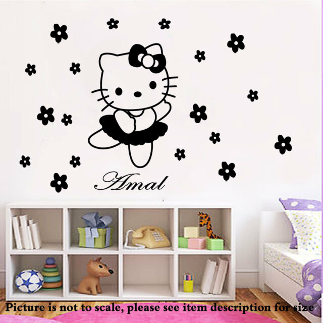Disney HELLO KITTY fairy Personalised name Wall Sticker Art Decal Vinyl Kid room