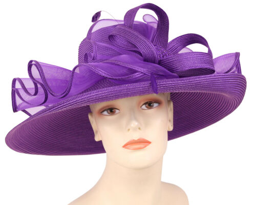 Green Brown White 4650 Blue Red Women/'s Straw Church Derby Hats Purple