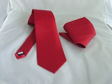 """Magenta Maroon Red Mens Classic Polyester Tie and Hankie Set - 3.3"""" = 8cm Width"""