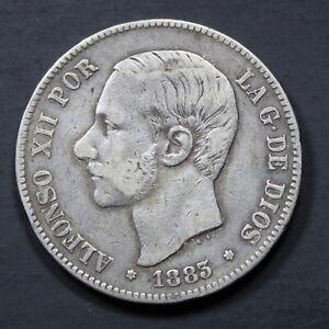 Piece-Argent-Espagne-5-pesetas-Alphonse-XII-1883-Rouflaquettes-Silver-Coin-Spain