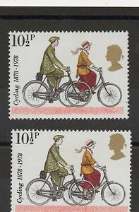 1978. Cycling. 10 1/2p value with large gold head shift error. Unmounted mint.
