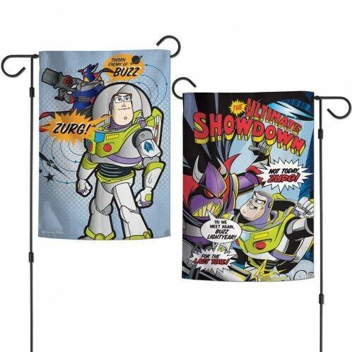 "Buzz Lightyear Battle Ready Toy Story Garden Flag Disney Two-Sided 12.5/"" x 18/"""