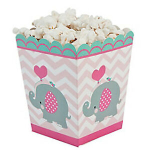 BABY ELEPHANT PARTY Mini Popcorn Box Favour Gift Boxes Pack of 6 Free Postage