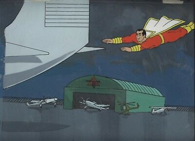 Captain Marvel Shazam Airport Cartoon Original Animation Cel Art /l Background Profit Small Production Art