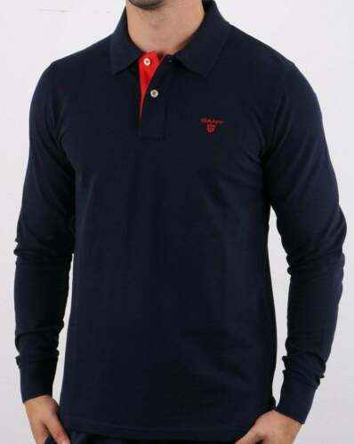 contrast red under collar Gant Long Sleeve Polo Shirt in Navy Blue pique
