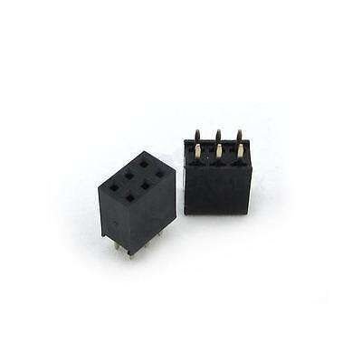 50PCS 2.54mm 2x3 Pin Double Row Female Straight Header Pitch Socket Strip 6Pin