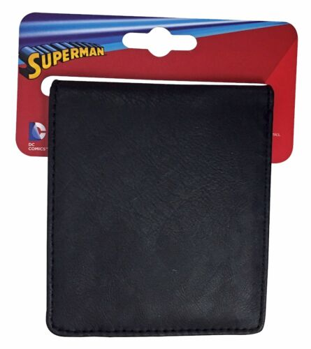 Mens Black Superhero Superman Logo PU Faux Leather Bifold Wallet DC Comics
