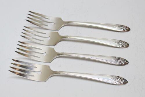 4 Wm A Rogers La Ronnie Pattern Oneida Ltd Silverplate Flatware Salad Forks