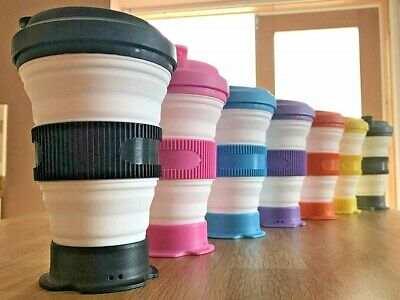 Details about Reusable Collapsible Coffee Cup,Screwtop Leak Proof Lid, REAL UK BASED SELLER
