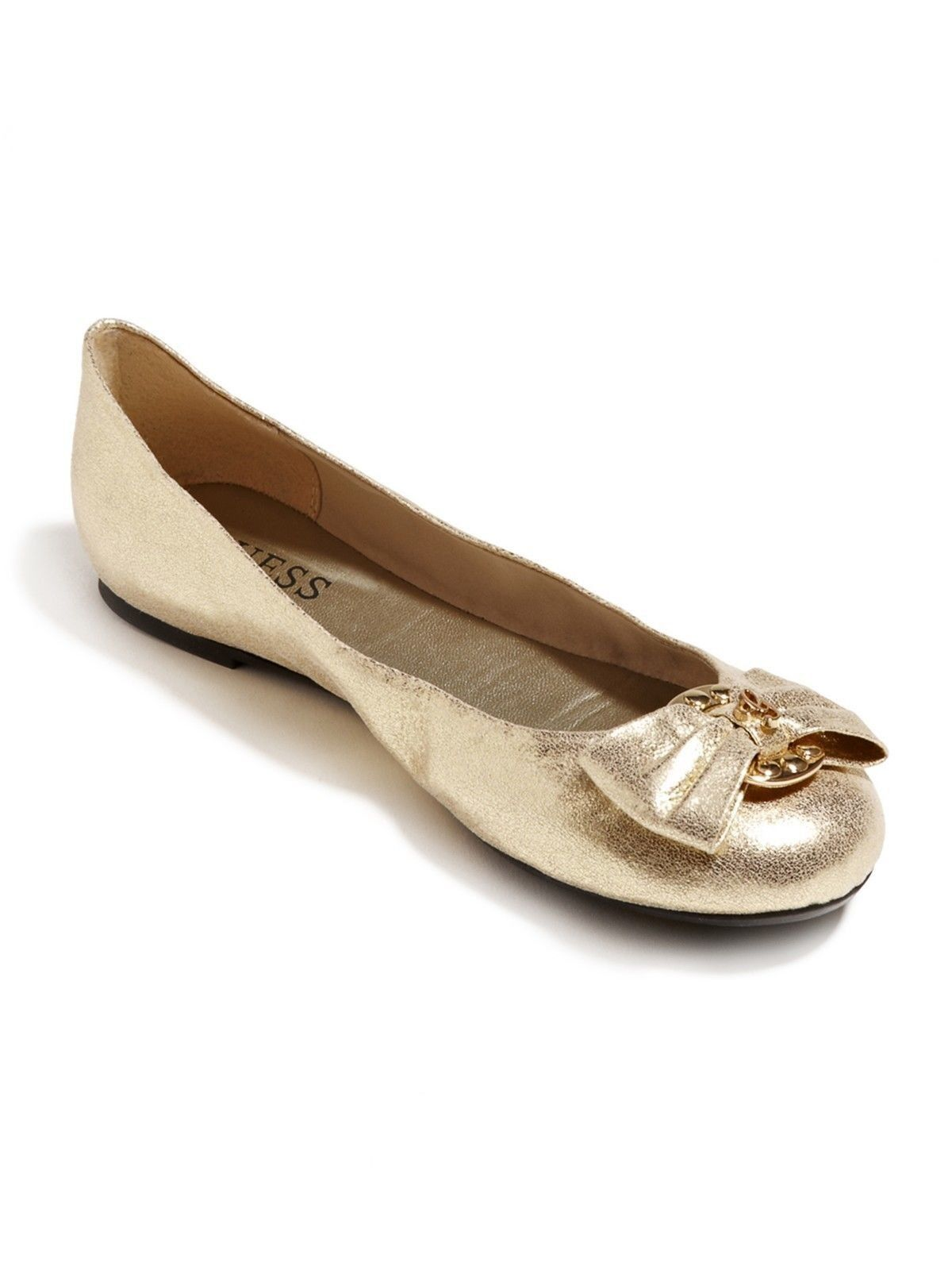 GUESS donna Girl Friend Ferne oro Fabric Ballet Flats scarpe with Bow ALL DimensioneS