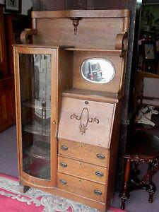 Antique Drop Front Secretary Desk >> Vintage Oak Drop Front Desk-Book Case Secretary,Mirrored ...