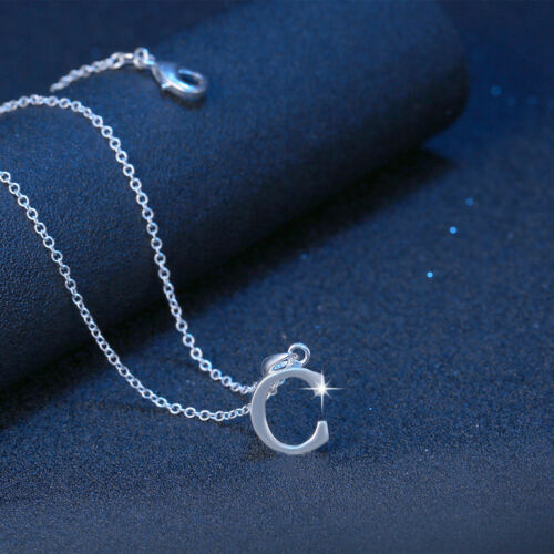 Sterling Silver Filled Letter C Personalised Pendant Chain Necklace Gift