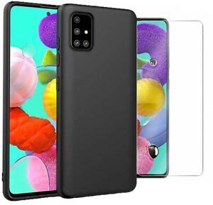 Pour-Samsung-Galaxy-A51-case-Slim-Housse-en-Silicone-amp-Protection-D-039-ecran-Verre