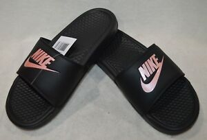 pretty nice 82cbc 26a12 Details about Nike Benassi JDI BlackRose Gold Womens Slides Sandals -  Size 67891011 NWB