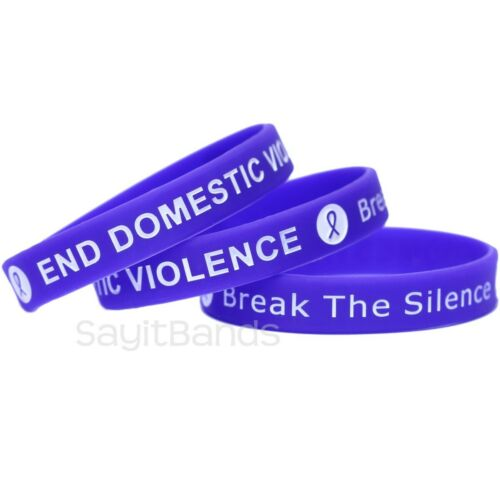 Debossed Silicone Awareness Wristbands Details about  /50 End Domestic Violence Bracelets