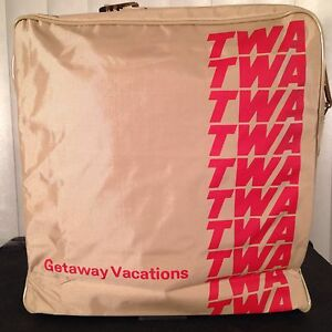 Vintage 70s NEW TWA Airlines Flight Carry On Large Tote Bag w/ Strap Never Used