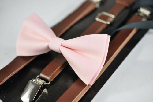 Kids Boys Pink Cotton Bow tie Brown Brown Leather Suspenders Braces 1-6Years Old