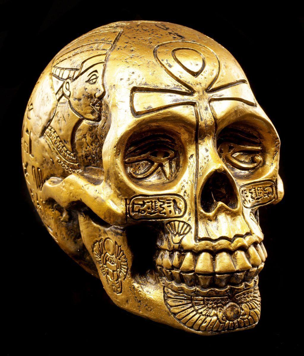 Égyptien Mort or - Figurine Déco Crâne Skull