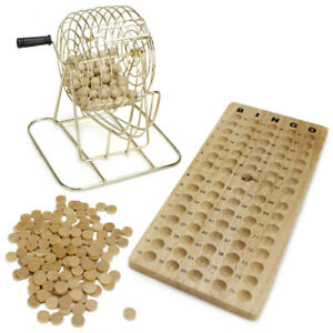 New Old Fashioned Vintage Wooden Bingo Game Set With Brass Cage & Black Cards