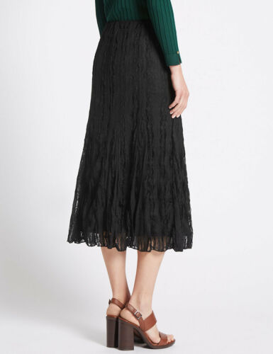 MARKS /& SPENCER PER UNA BLACK CRUSHED LACE ELASTICATED WAIST A LINE SKIRT 8,12